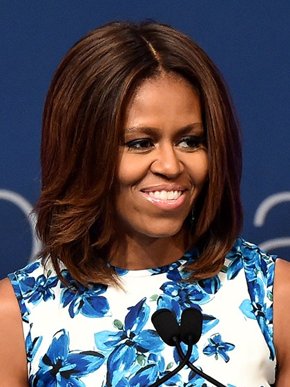 Michelle Obama Center Parted Lob-10 Short Hairstyles For Women Over 50-4