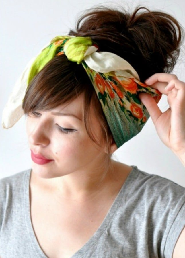 Scarf-Wrapped Low Bun-Best Hairdo Ideas for Busy Young Women-3