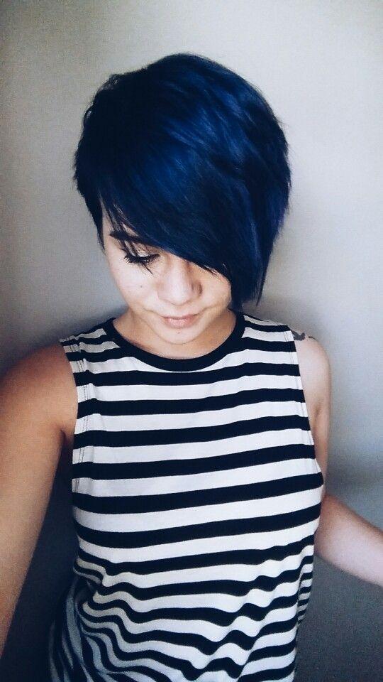 Memorable midnight blue haircut