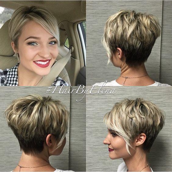 Blonde asymmetrical haircut