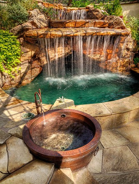 Nice Outdoor Spa Amp Hot Tub Design With Rock Style Amp Designs