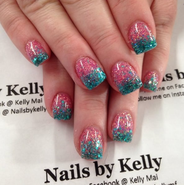 Cotton Candy Glitter Nails: Sweet Cotton Candy Nail Colors And Designs