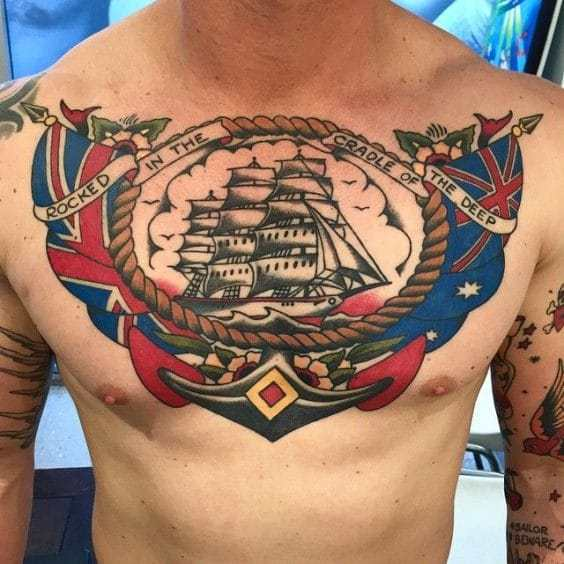 Middle Chest Tattoo: Awesome Chest Tattoo Ideas For Men