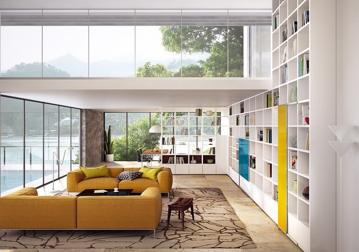 A Double Height Living Room with Large Windows Ideas